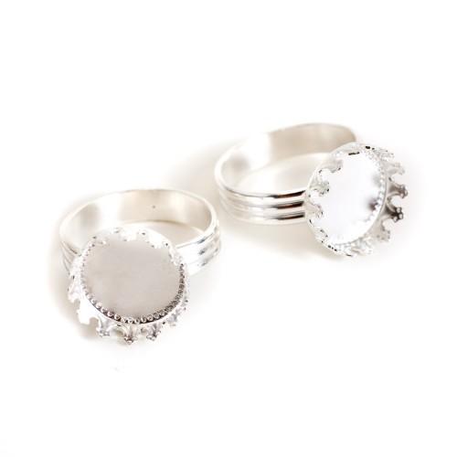 Ring Adjustable Prong Setting Small CircleSterling Silver Plate 1